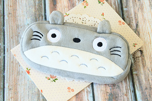 Totoro Cartoon Plush Zip Pen Bag