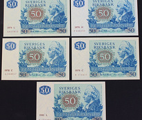 50 KRONORS 1974, 1976, 1978, 1979, 1981 UNC